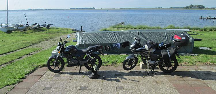 The 125s with clothes drying on a bungee between them