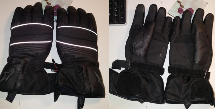 The Alpinestars Oslo Drystar gloves, top and bottom view
