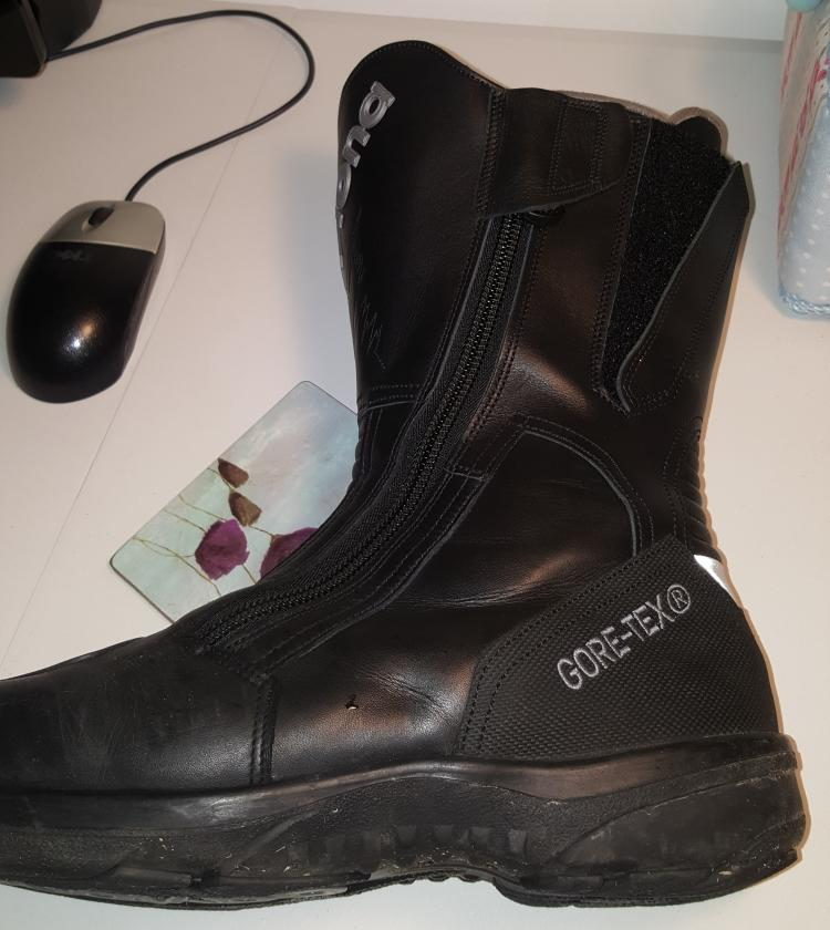The Daytona motorcycle boots on Pete's desk