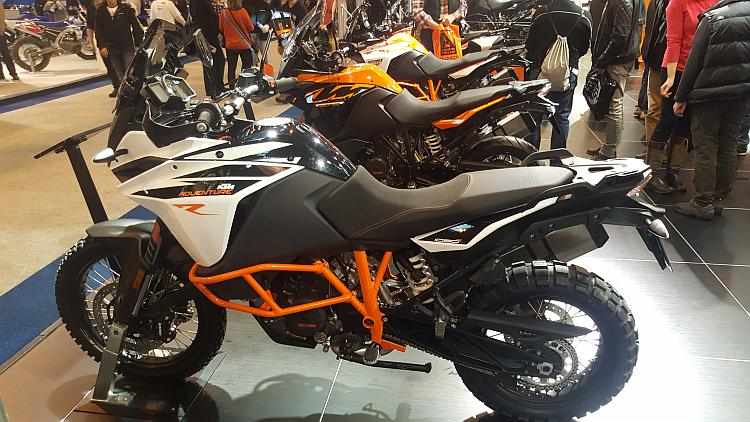 The KTM Adventure in white and the other bikes in view on the KTM stand