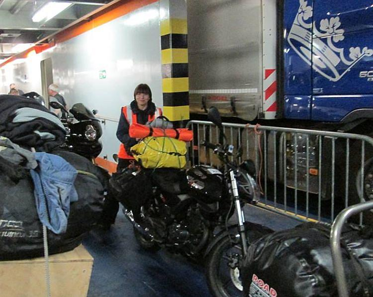 Sharon and her 125 inside the bowels of the ferry to The Netherlands