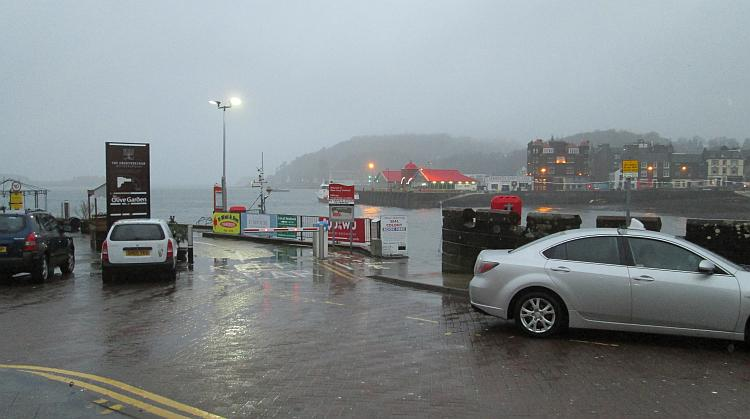 Oban harbour in the wind, rain and cold weather of Scotland's winter