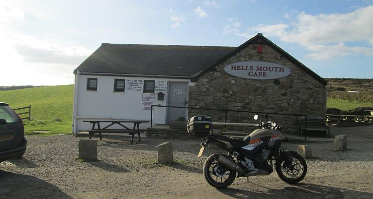 The cafe at Hell's Mouth, firmly closed during the winter