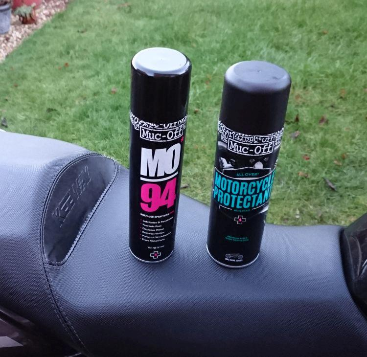 2 tins on Sharon's seat - Muc-Off protectand and MO94