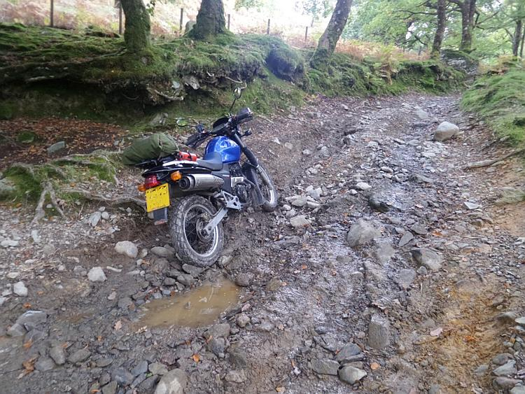 A steep and rocky track with loose shingle and boulders, Bob's bike is stuck