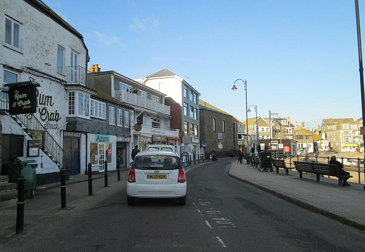 The street beside the harbour wall at St Ives Cornwall. Just a quick snapshot before I head off