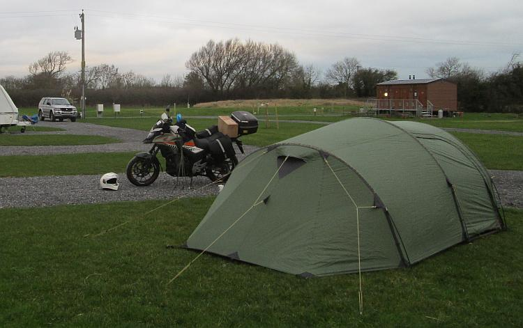 The tent is up and the bike is parked at Withy Waters Campsite