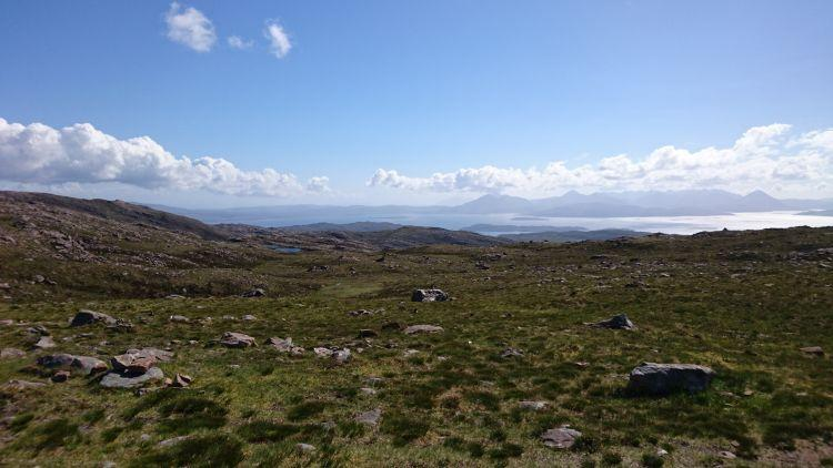 Skies, Lochs, the sea, island and mountains all seen from the top of the Applecross pass