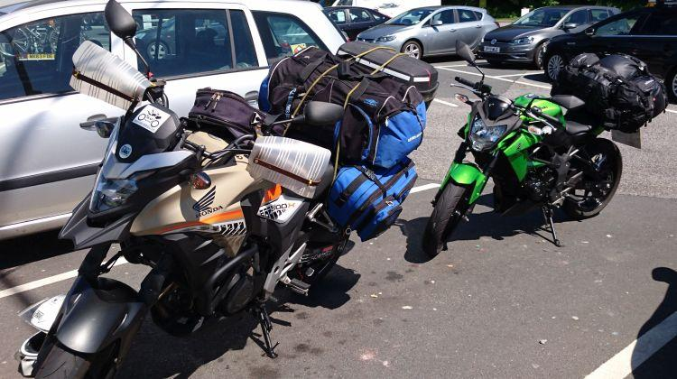 Ren and Sharon's bikes in a car park complete with all the luggage for the forthcoming trip