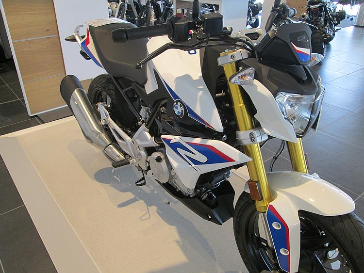 The all new G310R seen from the side in the showroom