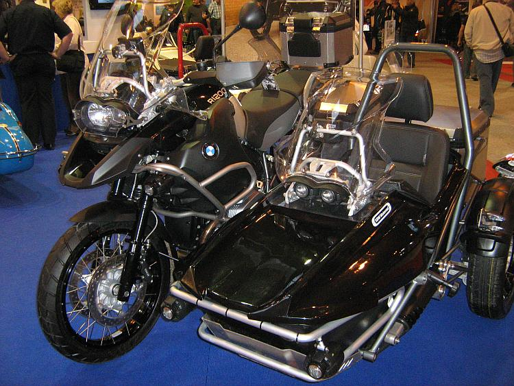A modern BMW GS1200 Adventure motorcycle fitted with an adventure sidecar outift