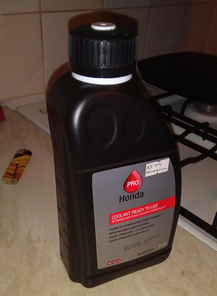 A 1 litre bottle of honda pro coolant