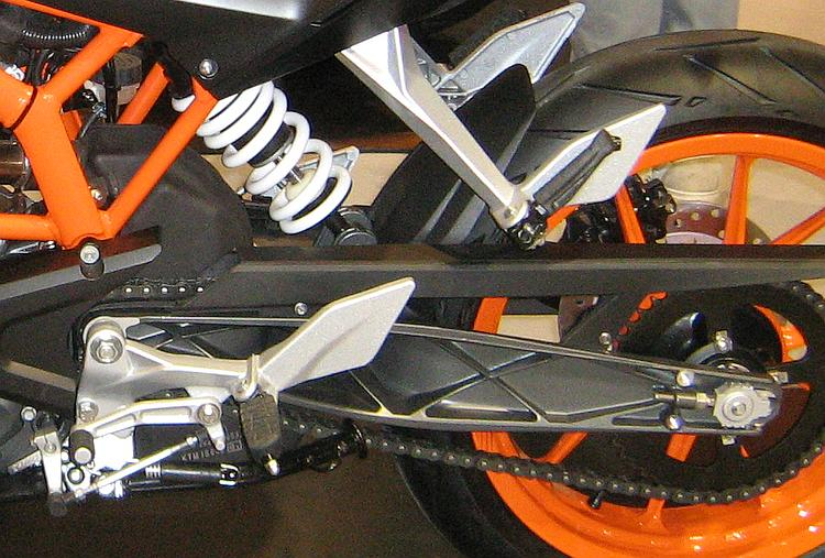 The shock and swingarm on the KTM duke for comparison