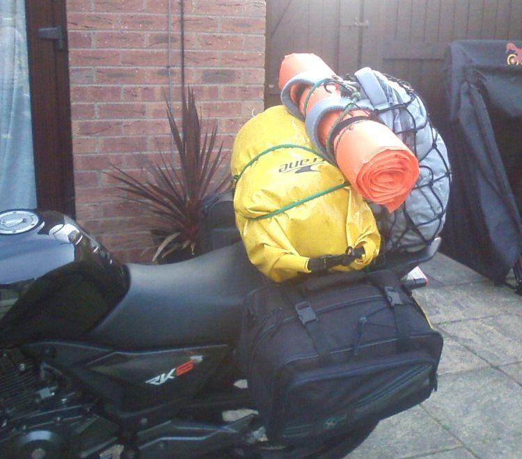 Saddlebags, duffle bag, ground mat and rucksack all on Sharon's 125