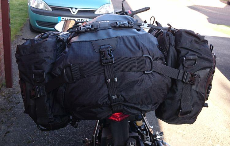 The Z250SL has the 3 filled Kriega US Drypacks on the bike looking smart