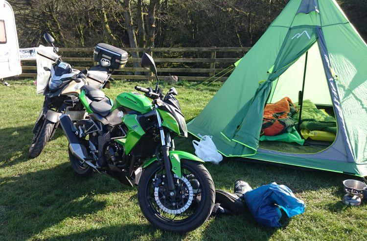 The teepee tent and the motorcycles at Usha Gap campsite near Muker