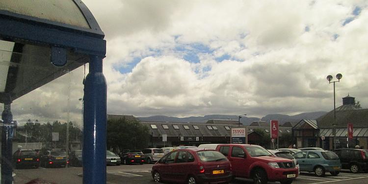 The tesco car park at Aviemore, the mountains can just be seen in the background