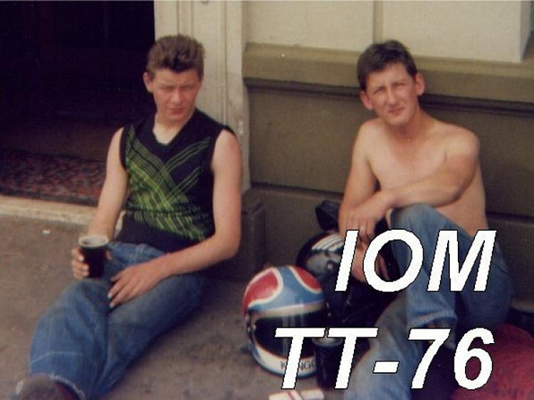 A younger tom and his cousin drinking beer at the Isle Of Man TTraces in 1976