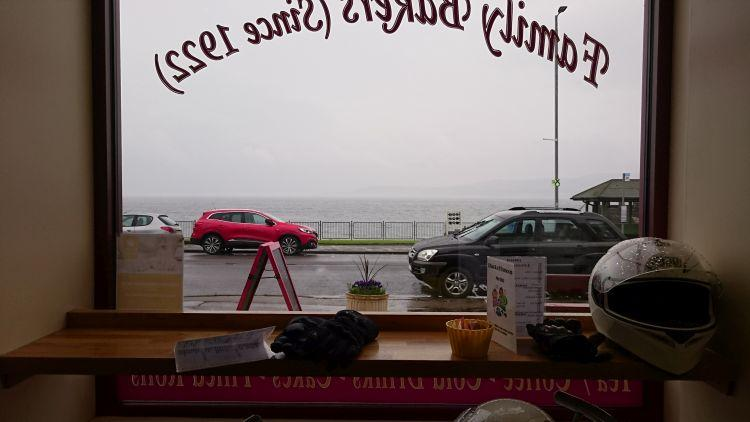 Looking out through the cafe window all that can be seen is mist across the loch