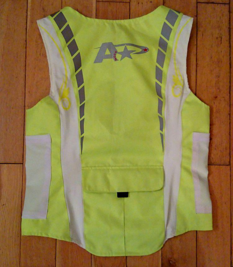 The rear of the a star moto hi viz. More yellow, more reflective material and a large rear pocket