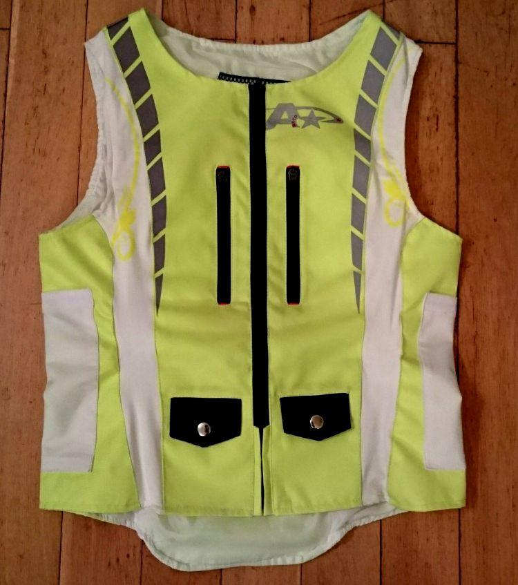 A bright yellow hi viz motorcycle jacket from A Star Moto