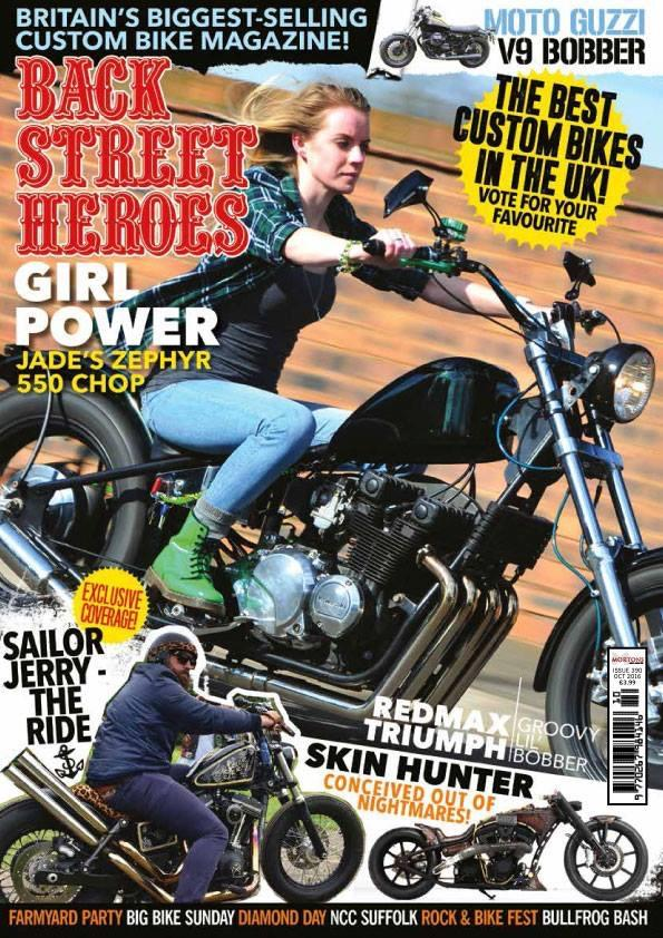 The cover of back street heroes magazine featuring Jade and her chopper