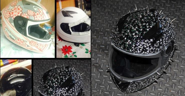 Montage of the helmet changine from flower pattern to crazy spikey and encrusted