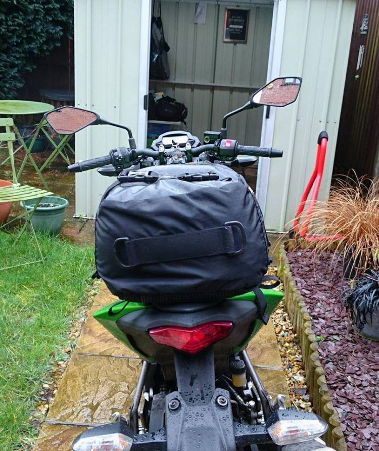 The Drypack seen from the rear of the bike