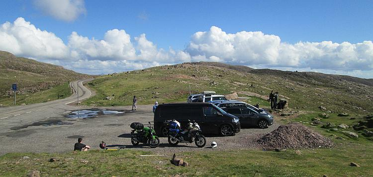 Ren and Sharon's motorcycles parked on top of the Applecross Pass