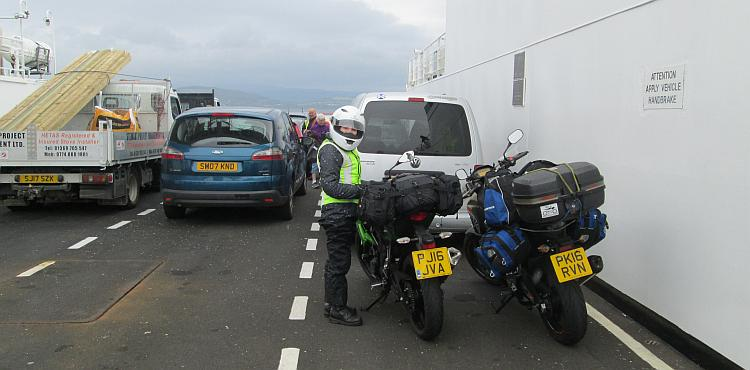 Sharon holds onto her Kawasaki as the ferry crosses the Clyde Estuary