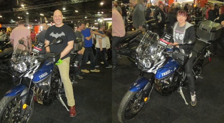 Split image with drew on the triumph tiger then sharon on the same bike