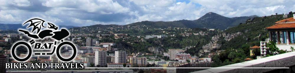 The city of Nice seen from the surrounding hillside bathed in sunshine